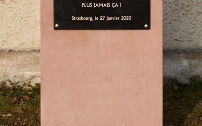Inauguration d'une stèle commémorative en hommage aux victimes du génocide des Tutsi à Strasbourg, ce 27 janvier 2020